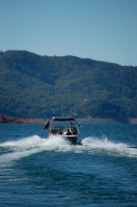 Holiday Harbor speed boat on Shasta Lake