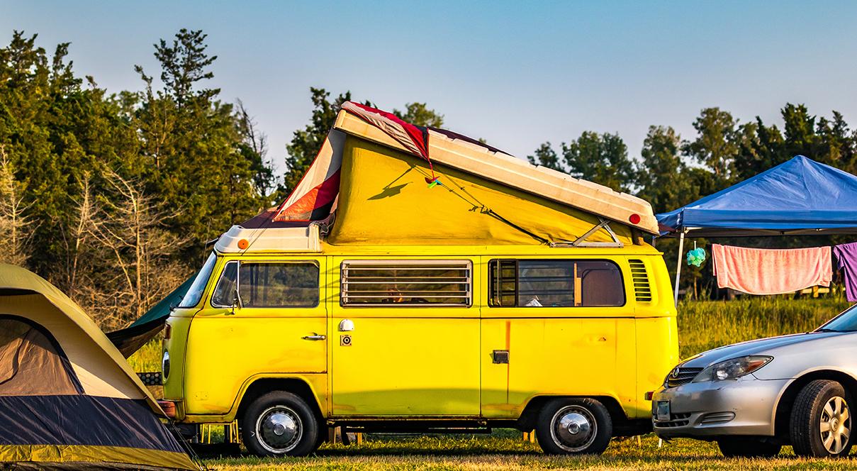 vintage van at rv campground