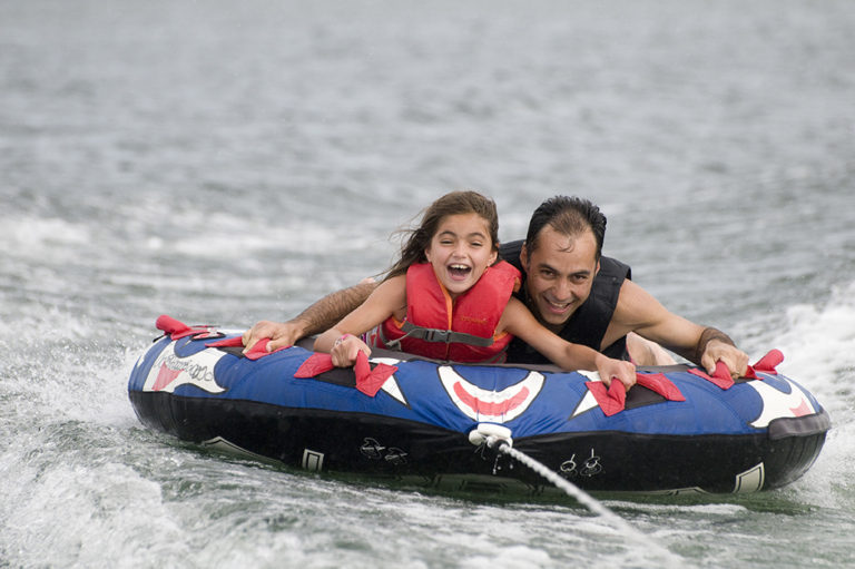 father daughter ride marina towable
