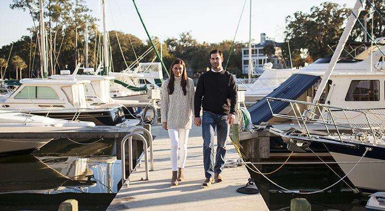 young couple shasta lake marina